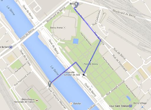 plan d'accès à la salle des Sports de Bercy