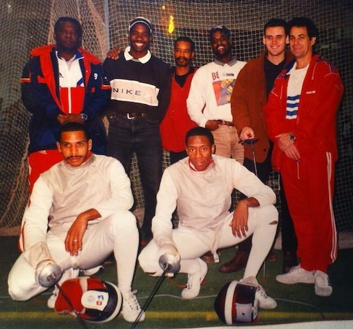 De gauche à droite : Eduardo Jonh (Entraîneur) , Rolando Tucker, Oscar Garcia, Elvis Gregory, Javier Garcia( Espagne) , Leonel Bacallao(Entraîneur), Raul Perojo, Eddy Patterson.